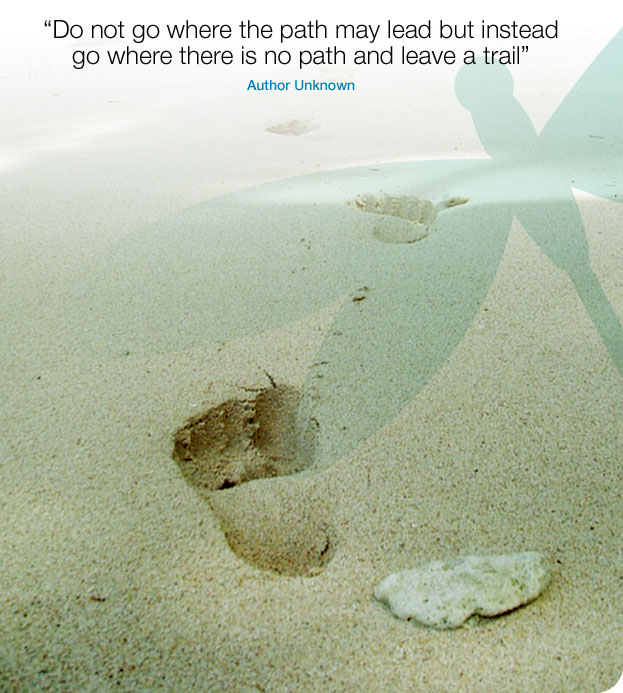 Do not go where the path may lead but instead go where there is no path and leave a trail - Author Unknown